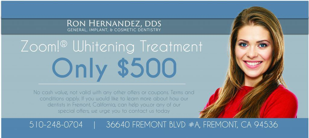 Zoom! whitening treatment for just $500 to brighten your smile